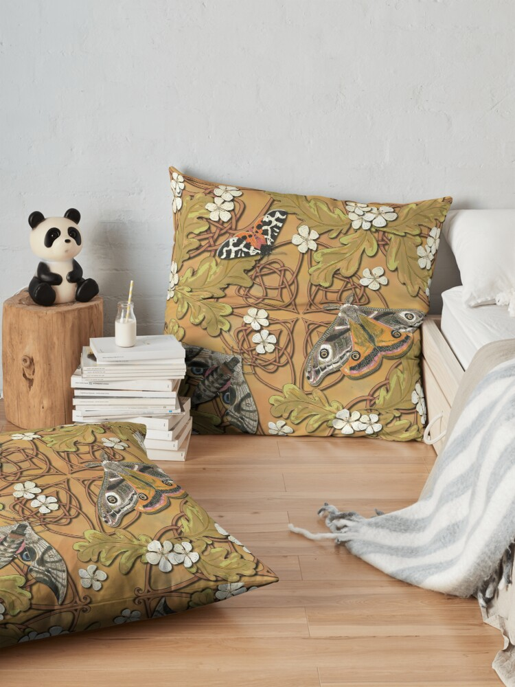 Alternate view of Celtic Moths with Leaves and Flowers Floor Pillow