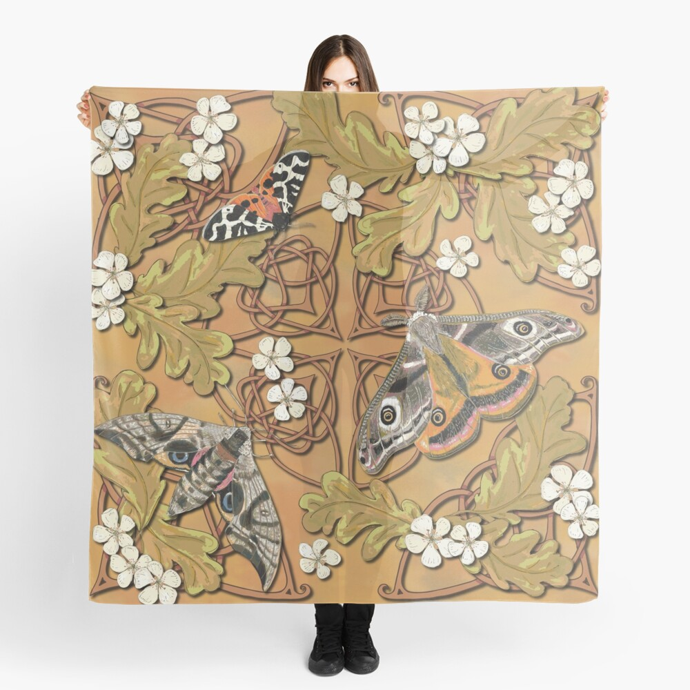 Celtic Moths with Leaves and Flowers Scarf