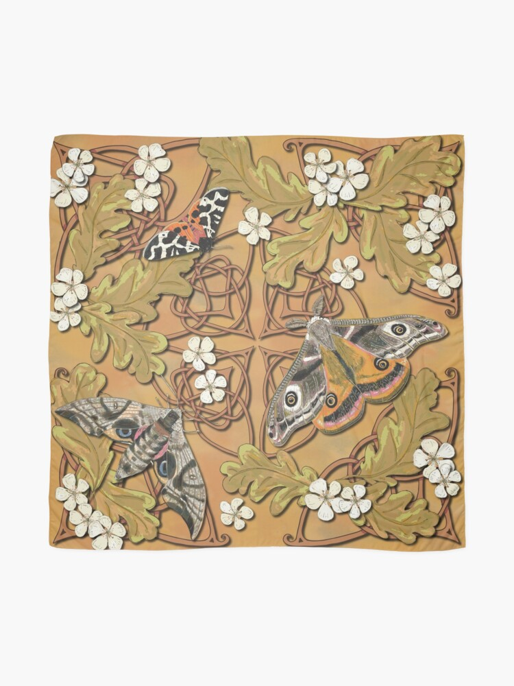 Alternate view of Celtic Moths with Leaves and Flowers Scarf