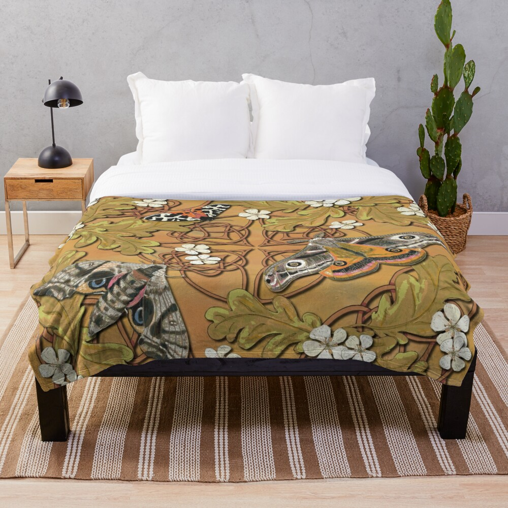 Celtic Moths with Leaves and Flowers Throw Blanket