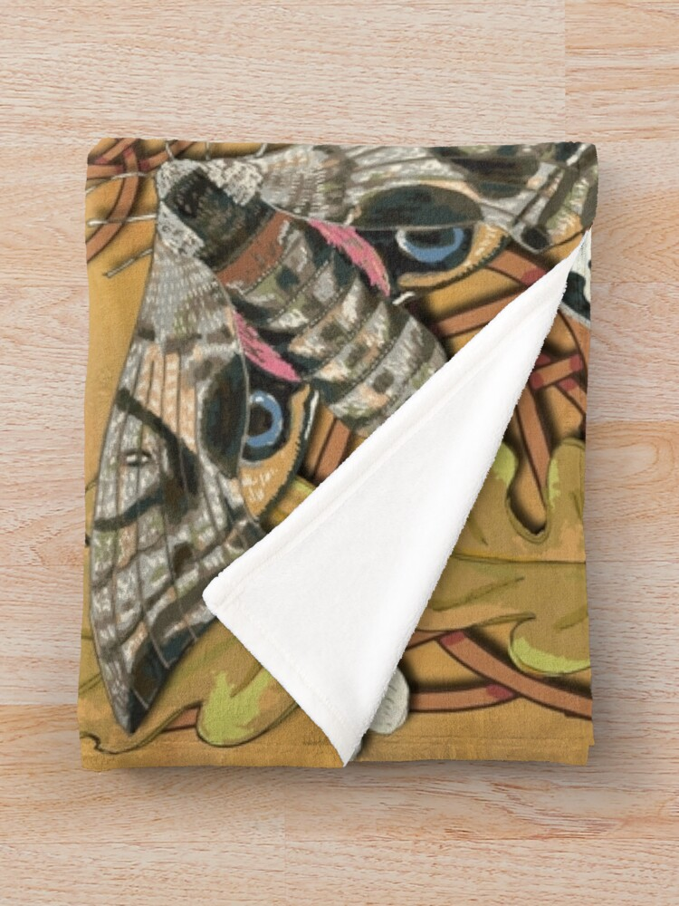 Alternate view of Celtic Moths with Leaves and Flowers Throw Blanket