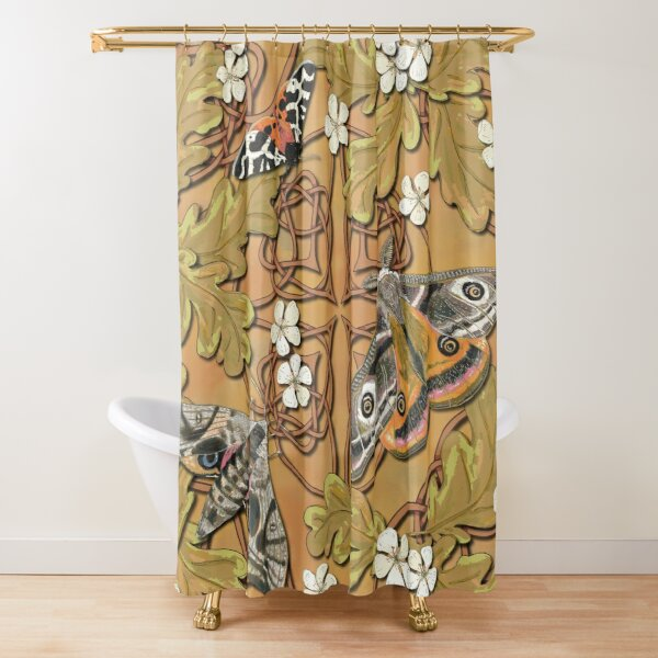 Celtic Moths with Leaves and Flowers Shower Curtain