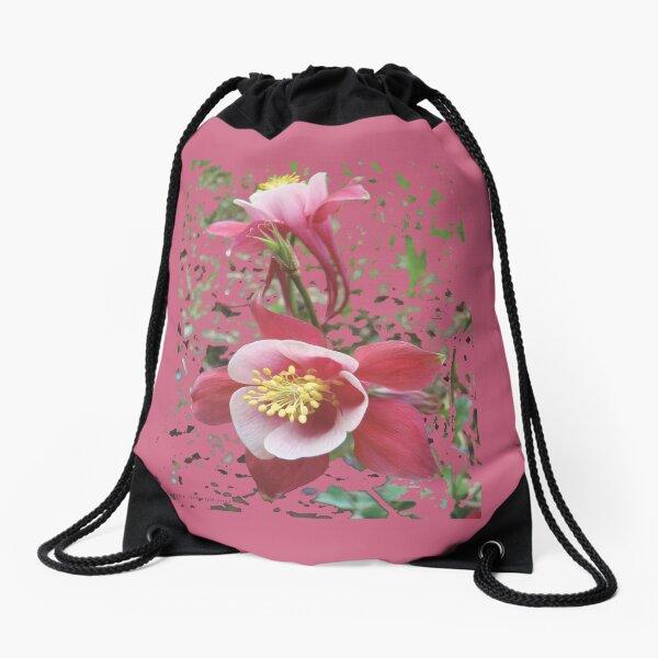 Pink Splashing Columbine Flowers Drawstring Bag
