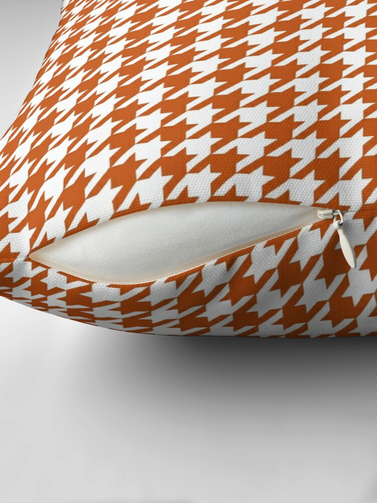 Alternate view of Pied de Poule Rust Orange Houndstooth Throw Pillow