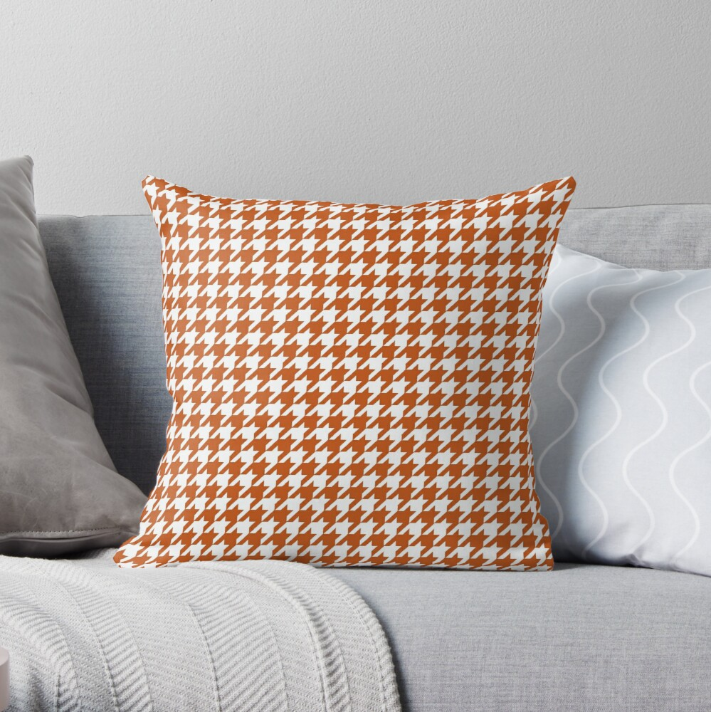 Pied de Poule Rust Orange Houndstooth Throw Pillow