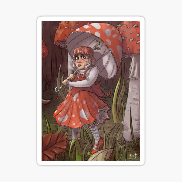Fly Agaric Mushroom Girl Sticker