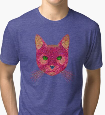 Rose Hungry Cat Tri-blend T-Shirt