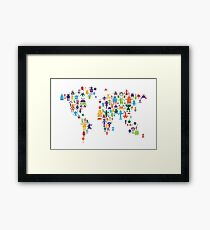Robot Map of the World Map Framed Print