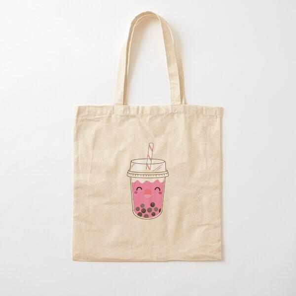 Pink Bubble Tea Boba Bubble Tea Kawaii Cotton Tote Bag
