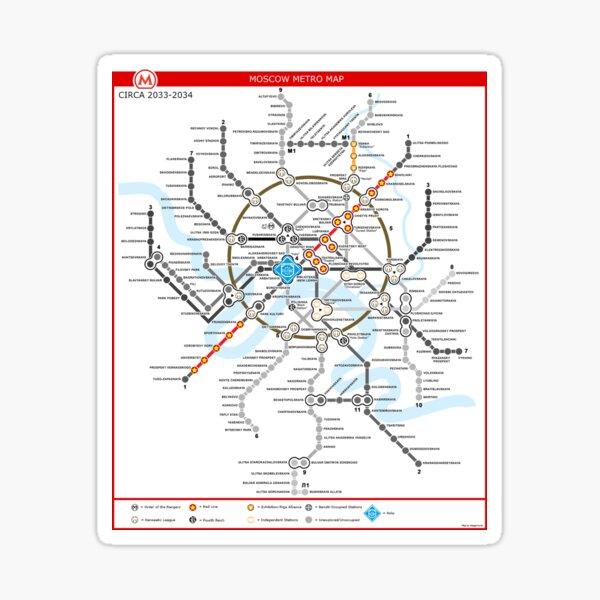Metro 2033 Moskau Karte Sticker