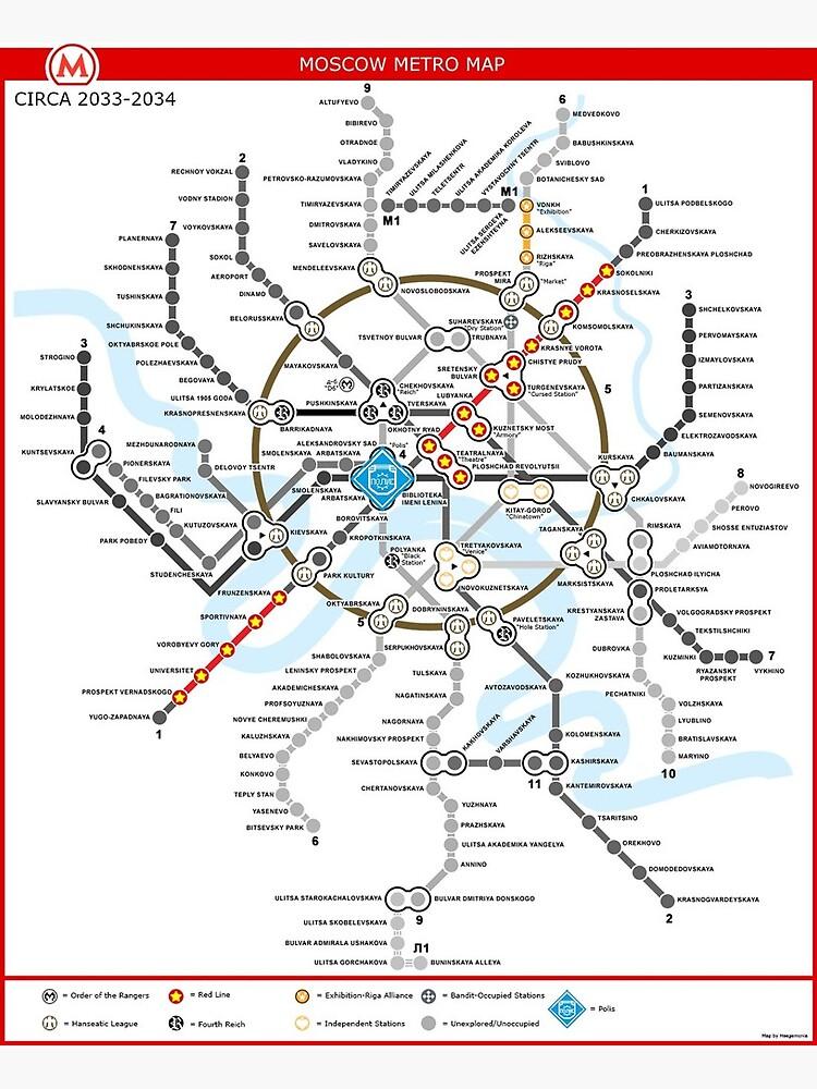 Metro 2033 Moskau Karte Grusskarte Von Rooser Redbubble