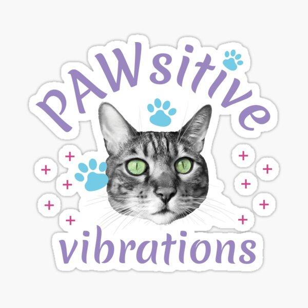 PAWsitive vibrations, pattes et tête de chat, pastel, fond pêche Sticker