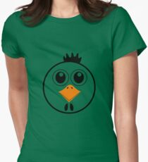 chicken with Yellow nose Cartoon animation Women's Fitted T-Shirt