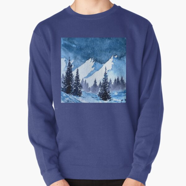 Snowy Mountains Painting Pullover Sweatshirt