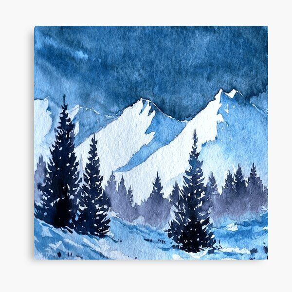 Snowy Mountains Painting Canvas Print