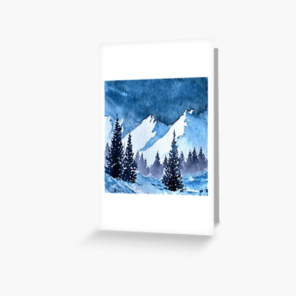 Snowy Mountains Painting Greeting Card