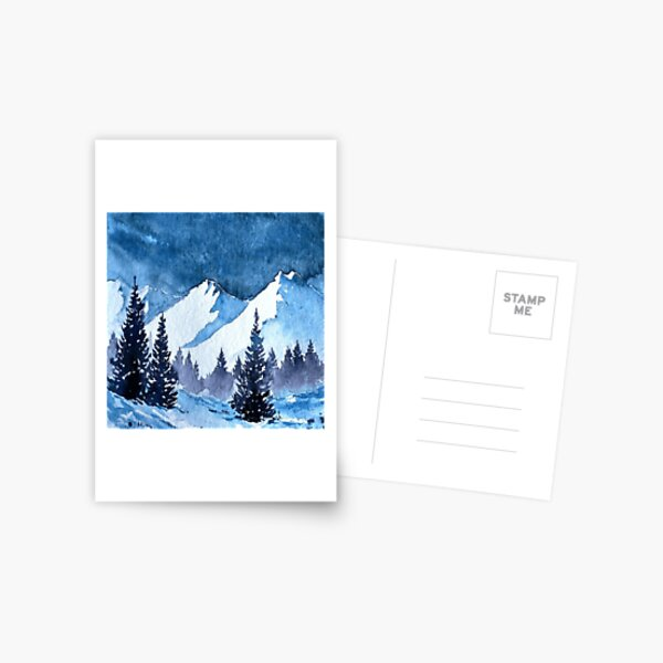 Snowy Mountains Painting Postcard