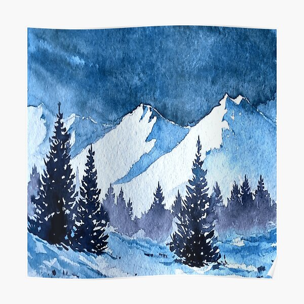 Snowy Mountains Painting Poster