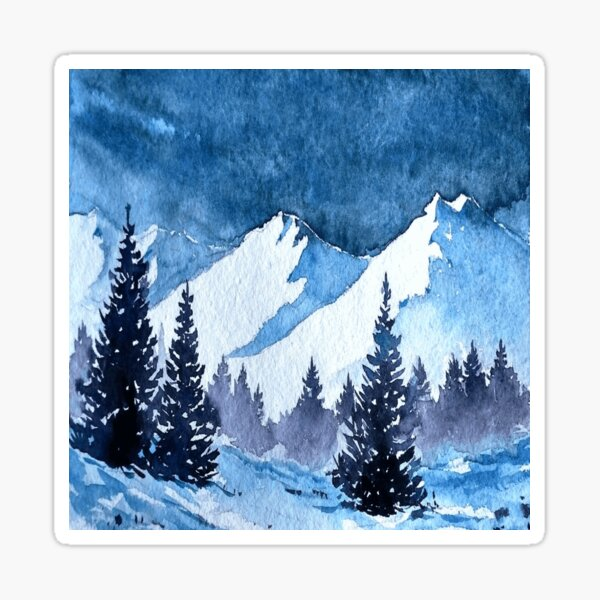 Snowy Mountains Painting Sticker