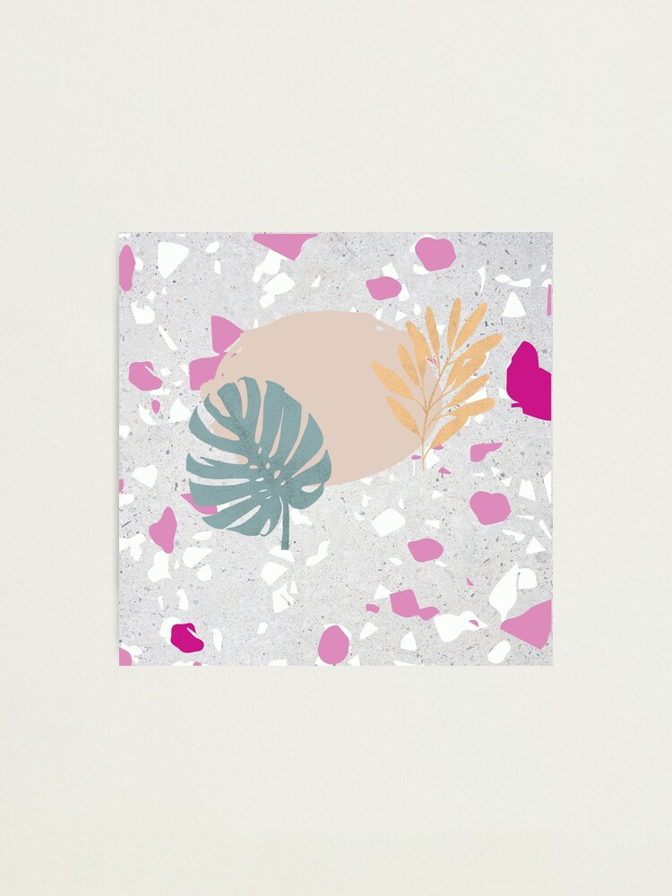 Alternate view of Pastel Palm and Olive Leaves on Terrazzo Background Photographic Print