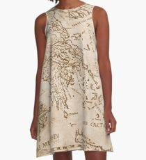 Hand Drawn Greek Map A-Line Dress