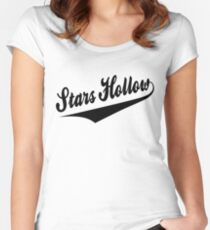 Stars Hollow - Retro Baseball Style, Black Font Women's Fitted Scoop T-Shirt