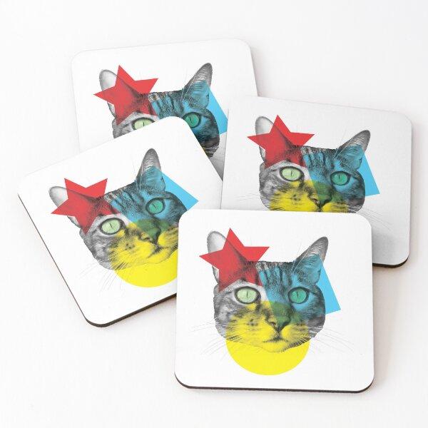 Tête de chat style Pop Art Dessous de verre (lot de 4)