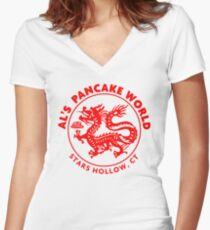 Al's Pancake World Women's Fitted V-Neck T-Shirt