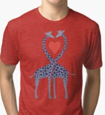 Giraffes in Love - A Valentine's Day Illustration Tri-blend T-Shirt