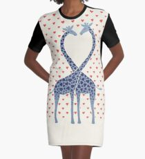 Giraffes in Love - A Valentine's Day Illustration Graphic T-Shirt Dress