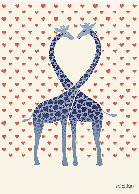 Giraffes In Love A Valentines Day Illustration By