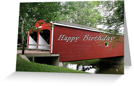 Birthday Card - Covered Bridge 3  by VivianRay