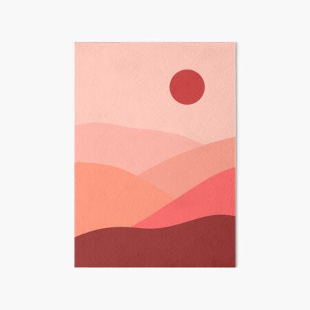 Minimalistic Pink Landscape Illustration  Art Board Print