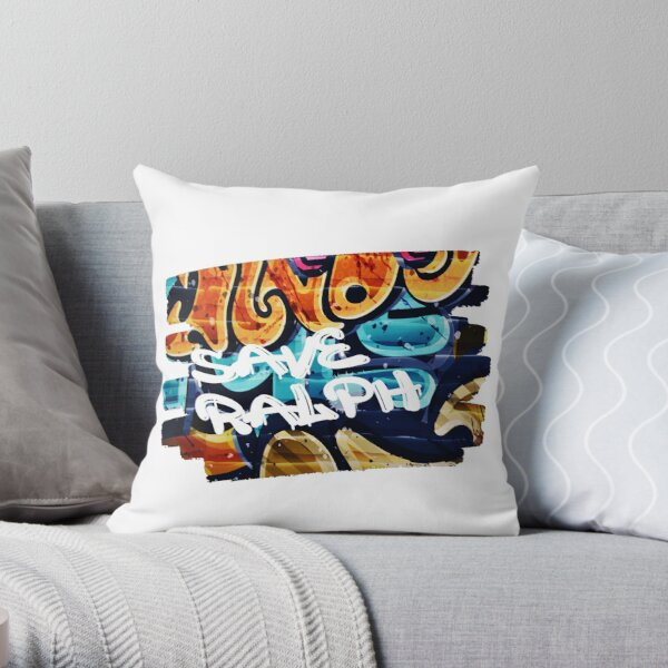 SAVE RALPH Painted As Graffiti On A Wall Throw Pillow