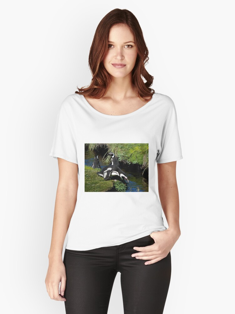 Magellanic Penguins ~ Punta Arenas, Chile Women's Relaxed Fit T-Shirt Front