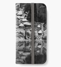 Canyon Wall Reflection at Lake Powell ~ Black & White iPhone Wallet/Case/Skin