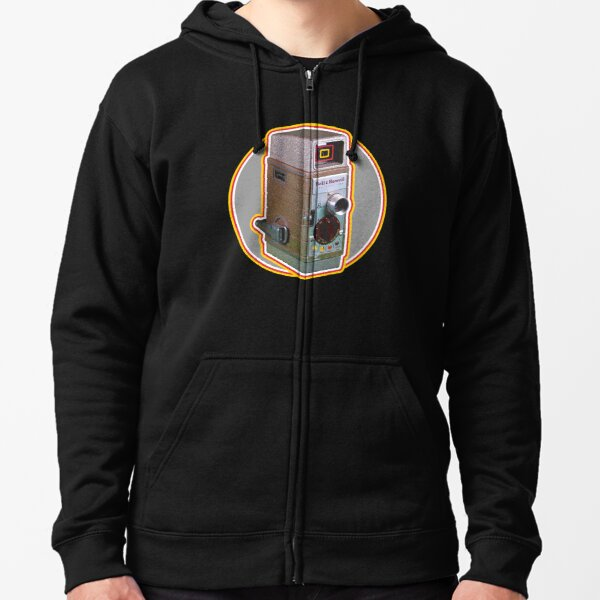 Vintage 8MM Home Movie Cameras: Bell and Howell 8MM Home Movie Camera (Gray Circle) Zipped Hoodie