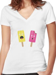 Colorful Popsicles Women's Fitted V-Neck T-Shirt