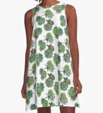 Fresh Succulent Pattern A-Line Dress