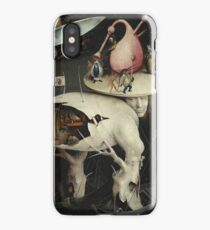 Hieronymus Bosch - The Garden Of Earthly Delights Art Fragment Painting: eden, hell, beauty, adam, retro animals, birds, cool love, trendy gift, celebration, vintage monster, doodle, birthday, fantasy iPhone Case