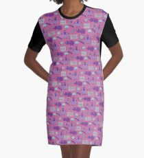 Hungry Hippo Pattern by Holly Shropshire Graphic T-Shirt Dress