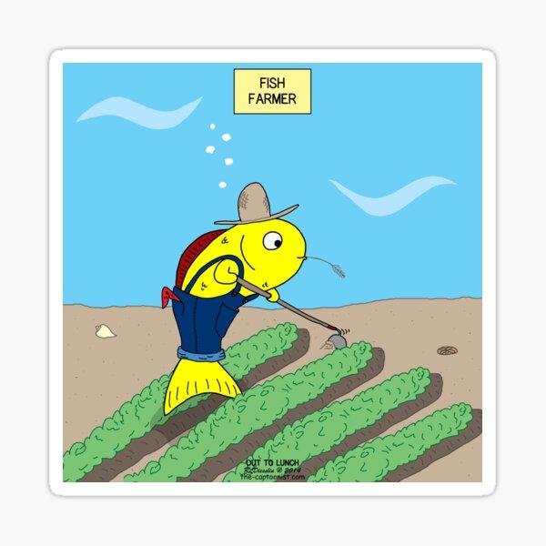 Fish Farmer farming a Fish Farm Sticker