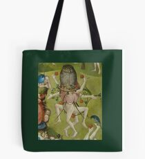 Hieronymus Bosch - The Garden Of Earthly Delights Art Fragment Painting: eden, hell, beauty, adam, retro animals, birds, cool love, trendy gift, celebration, vintage monster, doodle, birthday, fantasy Tote Bag