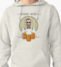 Hipster Beer Illustration with moto No beard no beer Pullover Hoodie