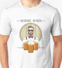 Hipster Beer Illustration with moto No beard no beer T-Shirt