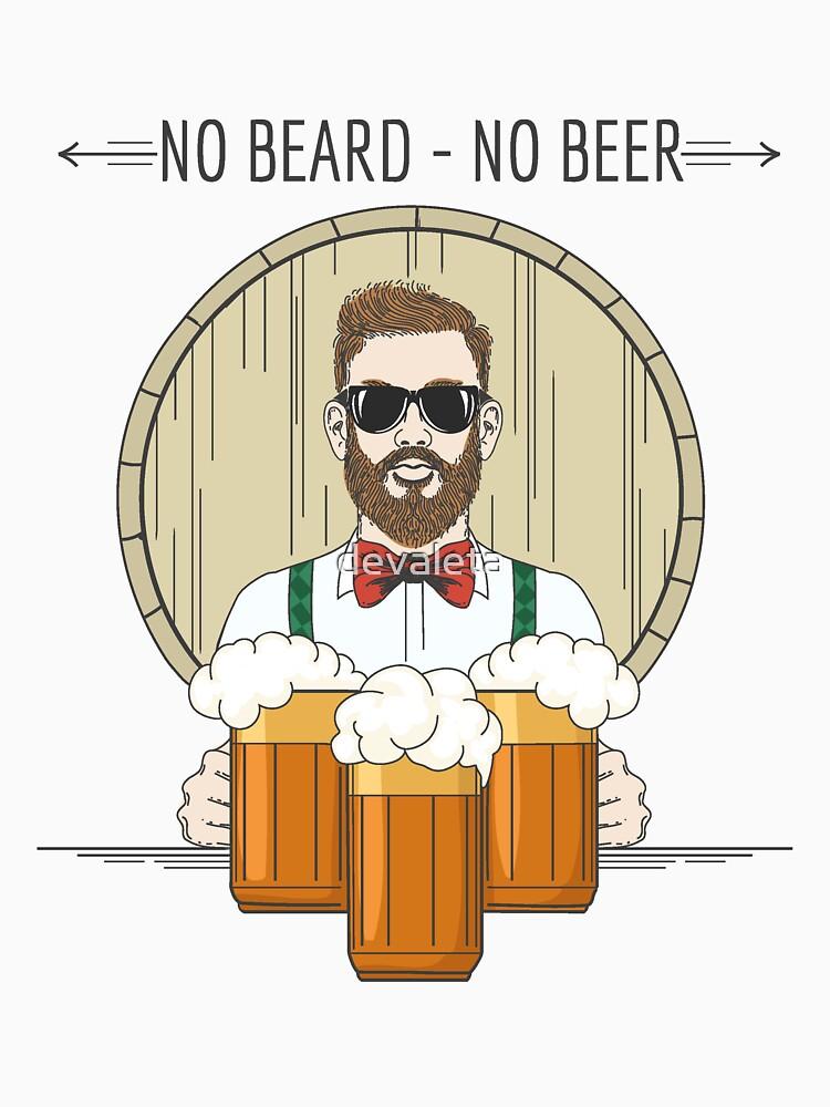 Hipster Beer Illustration with moto No beard no beer by devaleta