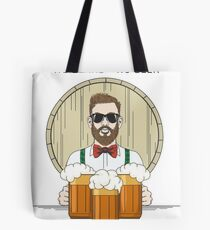 Hipster Beer Illustration with moto No beard no beer Tote Bag