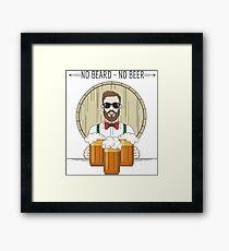 Hipster Beer Illustration with moto No beard no beer Framed Print
