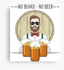 Hipster Beer Illustration with moto No beard no beer Canvas Print
