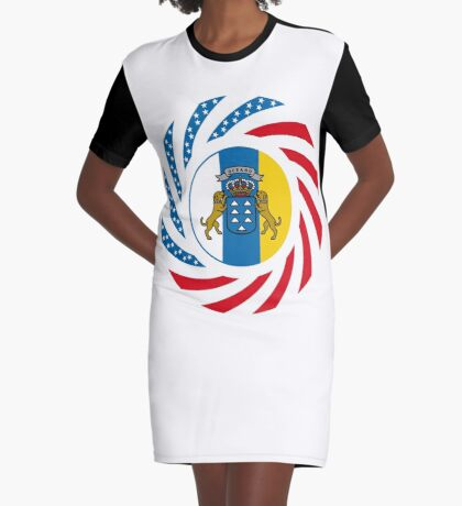 Canarian American Multinational Patriot Flag Series Graphic T-Shirt Dress